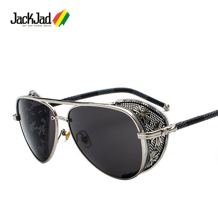 JackJad 2020 Vintage Luxury SteamPunk Style Sunglasses Quality Handmade Side Shield