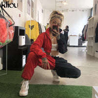 Kliou 2019 patchwork cropped jacket trouser 2 pieces set autumn winter women casual sporty tracksuit streetwear joggers outfits