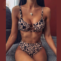 Peachtan Sexy snake print bikini set High waist swimwear women Hollow out swimsuit female Brazilian bikini Bathers bathing suit