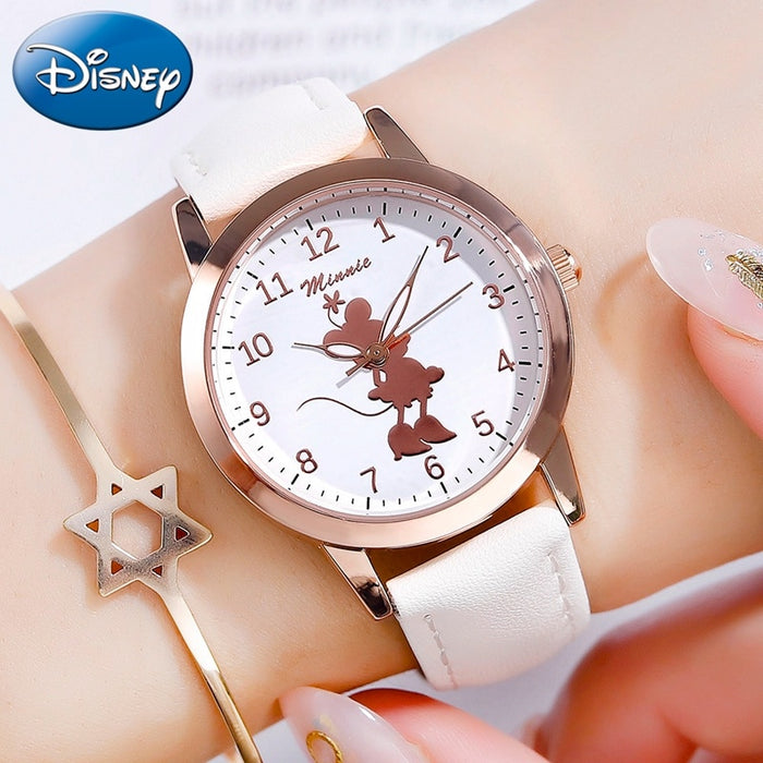 New Minnie Mouse Kids Girl Cute Beautiful Quartz Watches Teenager Time Lady Strap Children