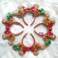 Disney Christmas Mickey Gingerbread Headband 3D Mickey Mouse Ears Disneyland Hair Hoop Hairband Party Headwear Girl Toy Gifts