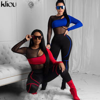 Kliou 2020 hot new two color patchwork see-through mesh slim Two-piece set woman long-sleeve bodysuit high waist leggings set