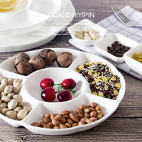 9 Inch 5-Compartment Melamine Food Storage Tray Dried Fruit Snack Plate Appetizer Serving Platter for Candy Pastry Nuts