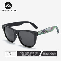 BEYONDSTAR Classic Square Polarized Sunglasses Men Trendy Graffiti Glasses