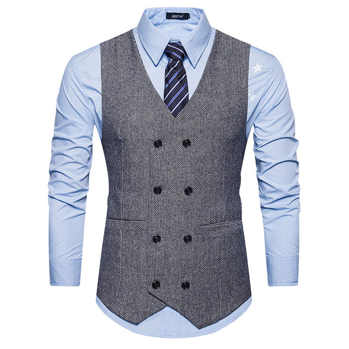 Mens Vest Slim Fit Sleeveless Wool Tweed Waistcoat Men Double Breasted Herringbone Tweed