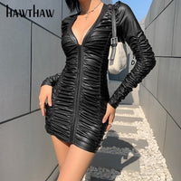 Hawthaw Women Autumn Winter Long Sleeve V Neck Pleated Bodycon Black Pu Leather Mini Short Dress 2020 Female Clothes Streetwear