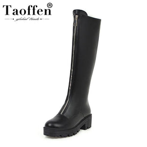 Taoffen 2020 Woman Chunky Heels Knee High Boots Round Toe Black Platform Round Toe Zipper Long Boots Footwear Size 34-43