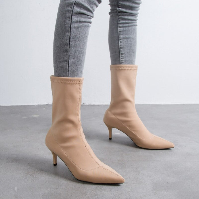 2019 Socks Short Boots Woman High-heeled Shoes Fine With Sharp Elastic Force Boots Boots