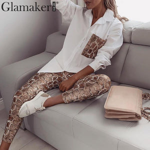 Glamaker Two piece set snake print jumpsuits Women pocket bodycon office wear long jumpsuit Spring sexy party playsuit overalls