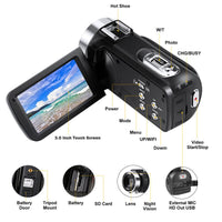 Video Camcorder Camera Full HD 1080P Vlog Camera 30MP 16X Digital Zoom LCD With Noise
