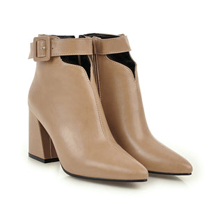 WETKISS Ankle Strap High Heels Women Boots Pointed Toe Footwear Zip Female Booties