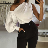 2019 Celmia Women Fashion Long Sleeve Shirts Plus Size Solid Cold Shoulder Blouses Casual Loose Tops Ladies Elegant Work Blusas