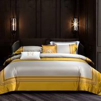 Luxury Gold Yarn dye bedlinen Bedding Set King Queen Size Bed Linen 1000TC egyptian Cotton Duvet Cover Bed Sheet Set Pillowcases