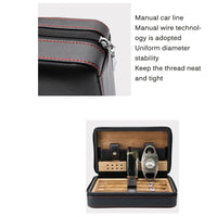 Cigar Humidor Case Portable Wood Leather Travel Humidor Humidifier Removable Cedar Tray Humidifier Set Gift Box Cigar Case