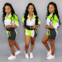 New lapel casual sports contrast color stitching sleeve shirt shorts 2piece set women 2019 summer plus size women tracksuit K007
