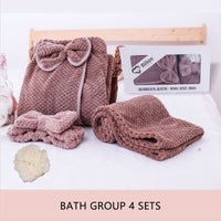 Comfy Absorbent Microfiber Women's Bathroom Towel Set Bow-knot Body Wrap Bathrobe Spa Skirt Hair Headband Bath Towels 4pcs Kit