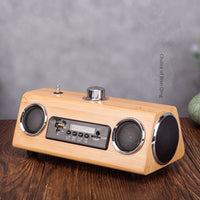 Bamboo wood retro antenna radio MP3 smart bluetooth speaker charging connection USB player