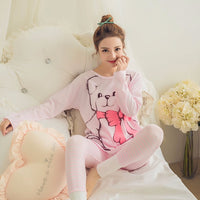 Spring Summer New Fashion Pajamas For Woman Long Sleeve & Pants Cotton Good Quality