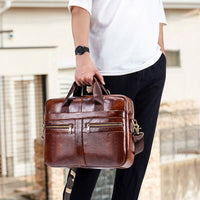Men's Briefcase Men leather genuine briefcase bag for men Business lawyer Office Laptop bags Large Capacity