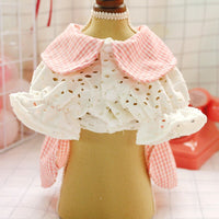 Dog Dress Hollow Pink Plaid Skirt Spring Summer Dog Clothes For Small Dog Party Dog Skirt Puppy Pet Costume Pets Outfits