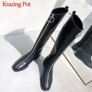 Krazing Pot handsome motorcycles Zipper square toe med heels winter keep warm women fashion black colors thigh high boots L39