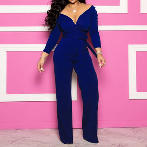 Sexy Jumpsuit Women Office Elegant Long Jumpsuits Plus Size V Neck Lace Up Solid Blue Ladies Overalls Fashion Oversized Rompers