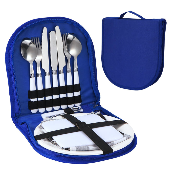 Camping Silverware Kit Stainless Steel Plate Spoon Wine Opener Fork Napkin Outdoor Picnic