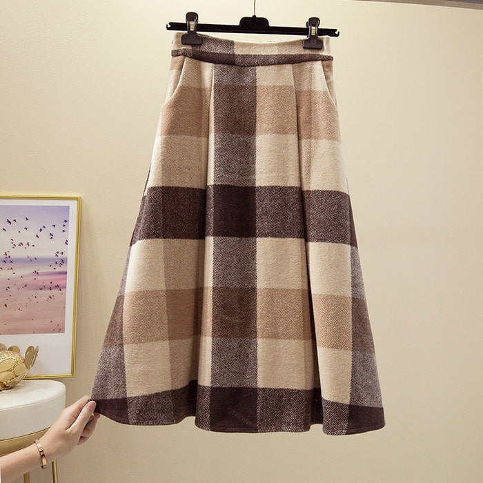 Korean Vintage Wool Elegant Plaid Skirt Womens Plus Size High Waist Maxi Skirt 2019 Autumn Winter Warm Office Lady Long Skirts