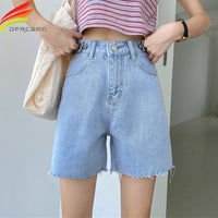 High Waist Wide Leg Denim Shorts For Women 2020 New Summer Blue Or Black Jean Buttons Half Casual Bermuda Shorts For Women