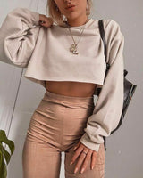 Autumn Women's Long Sleeve Top Round Neck Cotton Solid Color Pullover Ladies Crop Top Sweatshirt Tee Tops 2019 New