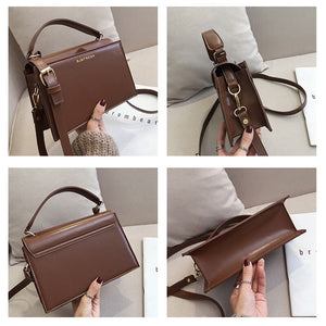 Chic PU Small Square Bag Women Handbag Fashion Dark Color Shoulder Messenger Bags Lady Crossbody Bags Korean Style Clutch