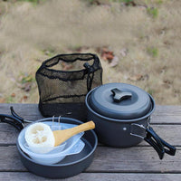 Camping Cookware Outdoor Travel Aluminum Cooking Kits Picnic for 1-2 Person Outdoor Camping Cooking Pot Frying Pans Accessories