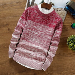 DIMUSI Autumn Winter Mens Sweaters Fashion Men O-Neck Slim Fit Pullover Sweater Men's