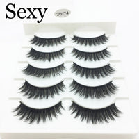 LTWEGO 5 pairs faux 3d mink lashes fluffy wispy false eyelashes natural long eyelash extension
