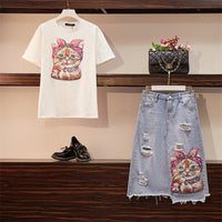 Women Fashion Sequined Cat Cotton Tshirts + Hole Jeans Clothing Plus Size 2 Piece Set Cartoon Top Tee Pocket Denim Skirt Suits