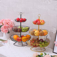 Household 3 layer fruit plate countertop metal fruit basket black retro style tray rack storage basket WY40303