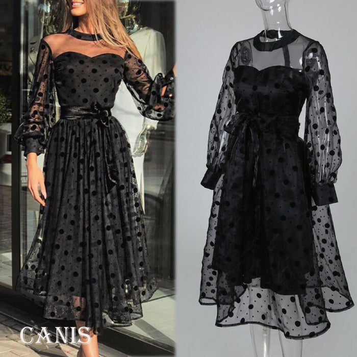 2020 New Sexy Plus Size Women Ladies Lace Mesh Midi Dresses Party  Gown Dress No Loss