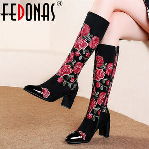 FEDONAS Autumn Winter Embroider Suede Women Knee High Boots Vintage Prom Party Shoes Woman Quality Plus Size Female Long Boots