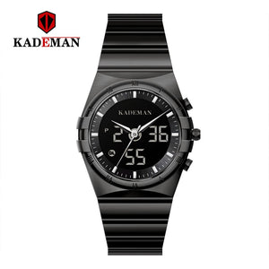 KADEMAN Wrist Watch Men Waterproof Chronograph Military Army Stainless Steel Male Clock Top