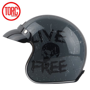 TORC casco capacete vintage helmets T57 moto cafe racer motorcycle scooter 3/4 retro open face helmet M L XL with sunney visor