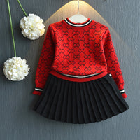 2019 Girls Winter Clothes Set Long Sleeve Sweater Shirt and Skirt 2 Pcs Clothing Suit Spring Outfits for Kids Girl's Clothes