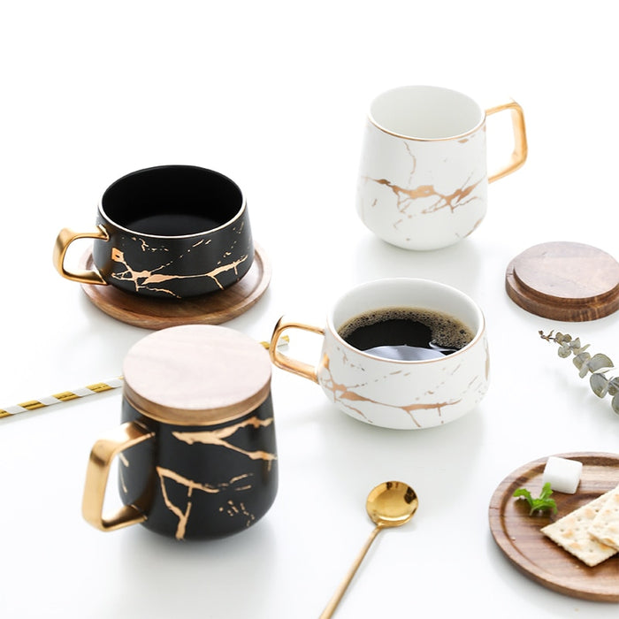 300ml Luxury matte ceramic marble tea coffee Cups and with wood Saucers black and white