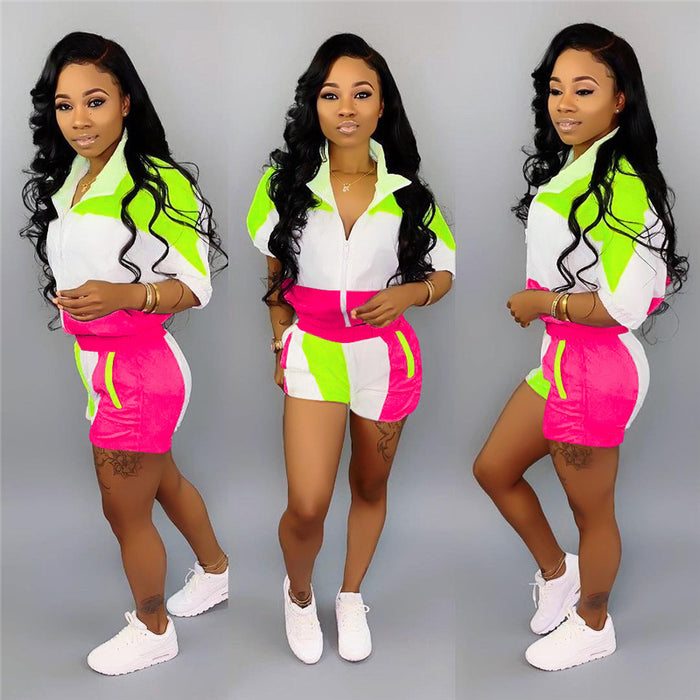 New lapel casual sports contrast color stitching sleeve shirt shorts 2piece set women 2019