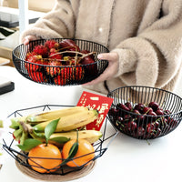 Metal Wire Fruit Plate Kitchen Living Room Storage Basket Kitchen Drain Rack Fruit Vegetable Storage Holder Snack Tray Storage