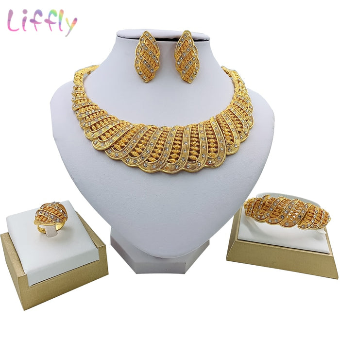 Liffly Fashion Bridal African Jewelry Set Beautiful Wave Necklace Earrings Ring Bracelet