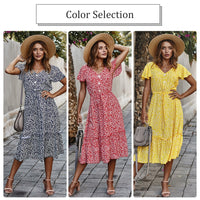 Dress Women 2020 Boho Floral Print Sexy V-neck Suspenders High-waist Summer Long dress Ruffled Beach Holiday Casual Red Dress