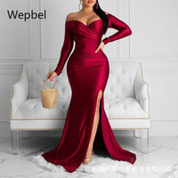 WEPBEL Burgundy Slash Collar Dresses Women Sexy Party Split Dress Long Sleeve High Waist Bodycon Solid Color Fashion Dress