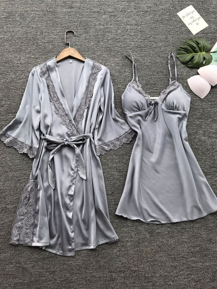 Women's Sexy Lace Sleepwear Lingerie Lace pajamas robe Set Underwear Nightdress Ladies