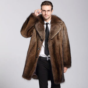 Brown faux mink leather jacket mens winter thicken warm fur leather coat men loose jackets jaqueta de couro fashion