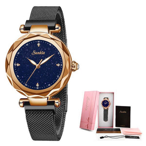 SUNKTA Diamond Surface Ceramic Strap Fashion Waterproof Women Watches Top Brand Luxury